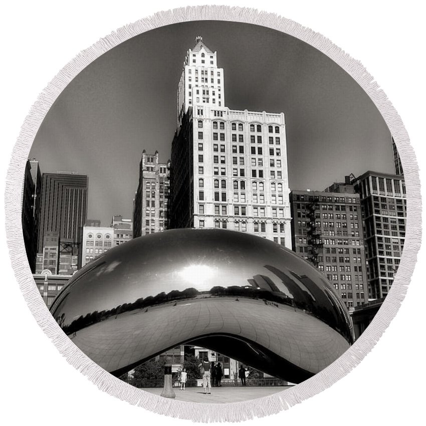 Chicago Architecture Round Beach Towel featuring the photograph The Bean - 3 by Ely Arsha
