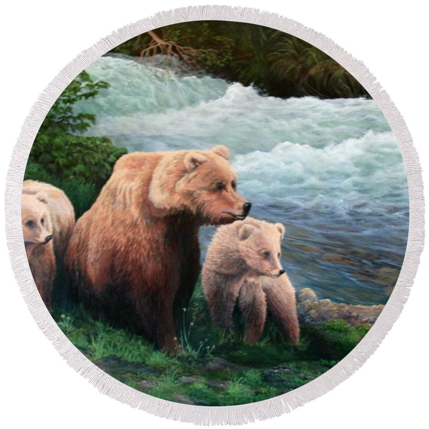 Bears Round Beach Towel featuring the painting The Bears Of Katmai by Lorna Allan