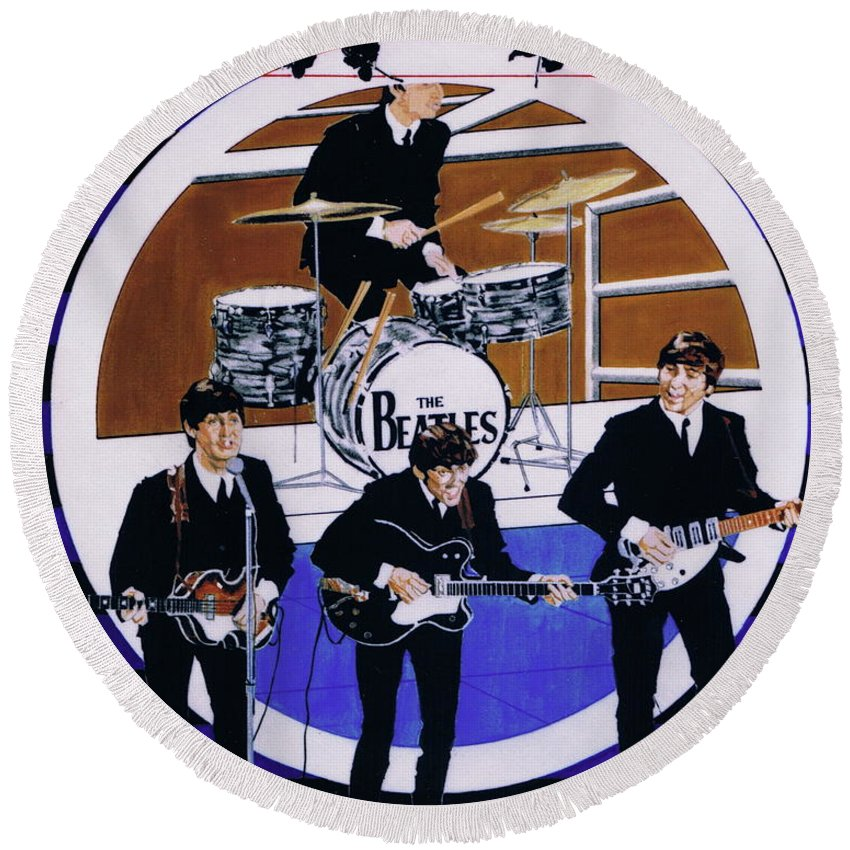 1960s Round Beach Towel featuring the drawing The Beatles - Live On The Ed Sullivan Show by Sean Connolly
