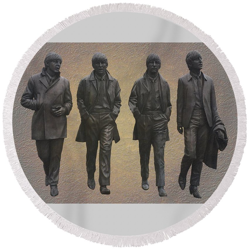 The Beatles Round Beach Towel featuring the mixed media The Beatles by Movie Poster Prints
