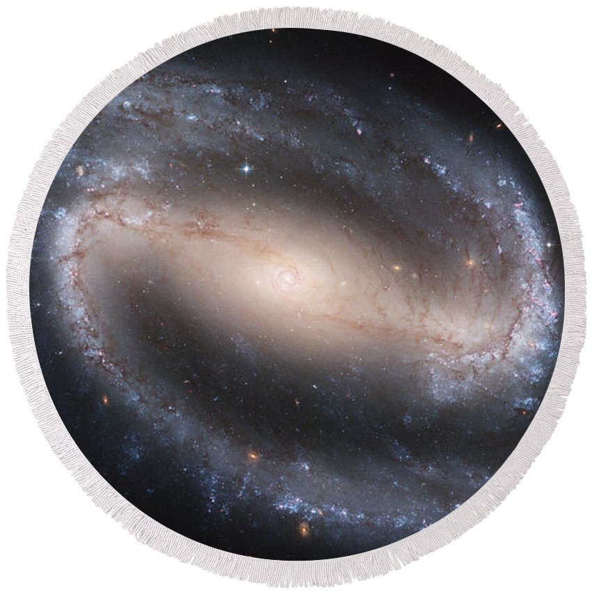 Ngc Round Beach Towel featuring the photograph The Beautiful Barred Spiral Galaxy Ngc 1300 by Nasa