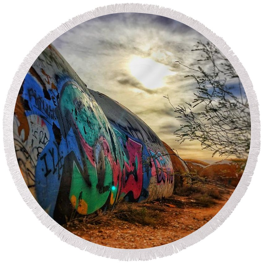 Domes Graffiti Desert Arizona Artwork Casa Grande Rural Town Art Round Beach Towel featuring the photograph The Beauty In The Madness by Brandon Stevens
