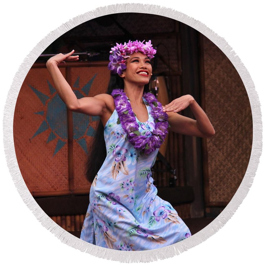 Dance Round Beach Towel featuring the photograph The Beauty Of Polynesia by Denise Mazzocco
