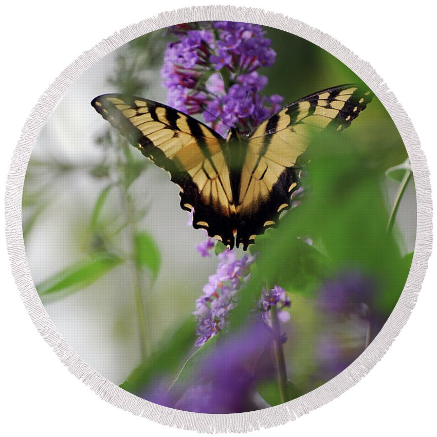 Swallowtail Round Beach Towel featuring the photograph The Beauty Of Spring by Lori Tambakis