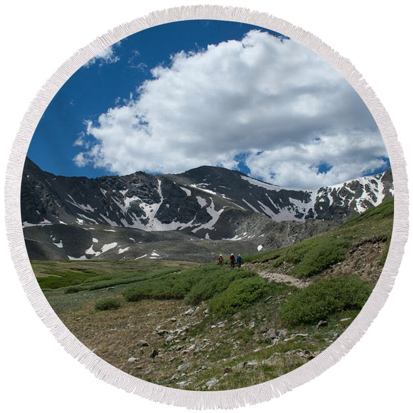 Grays Peak Round Beach Towel featuring the photograph The Beginning by Angus Hooper Iii