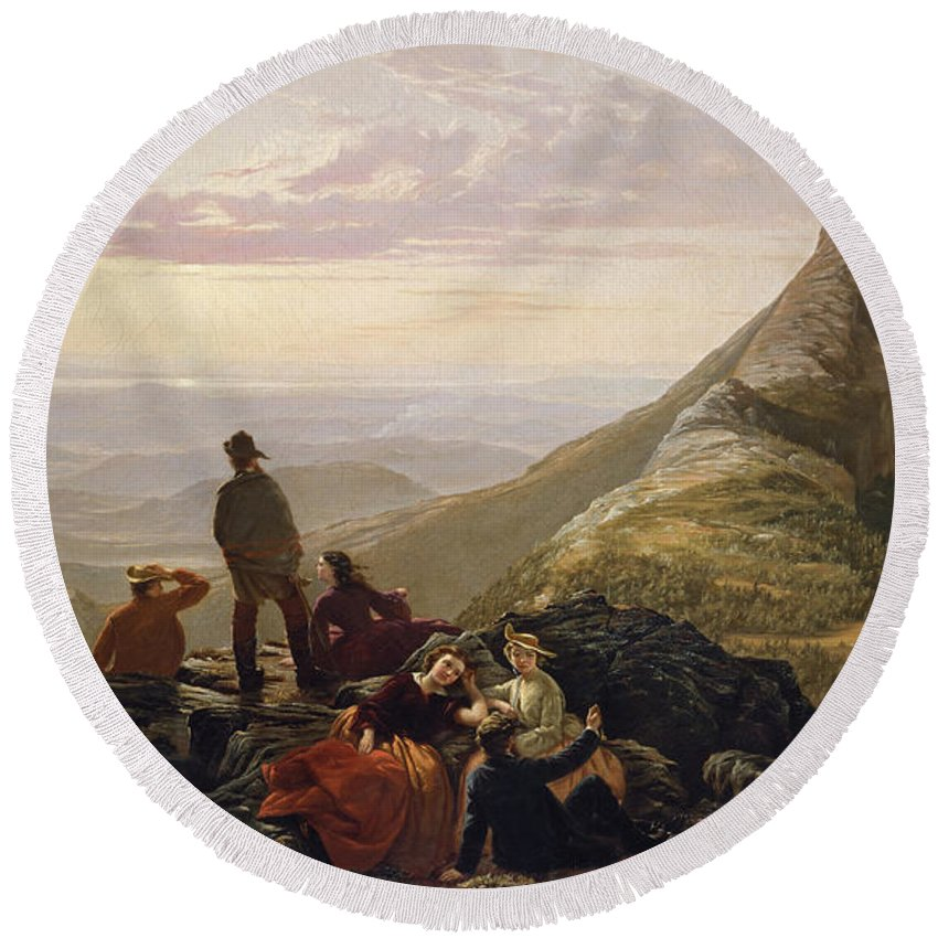 Jerome B Thompson Round Beach Towel featuring the painting The Belated Party On Mansfield Mountain by Jerome B Thompson
