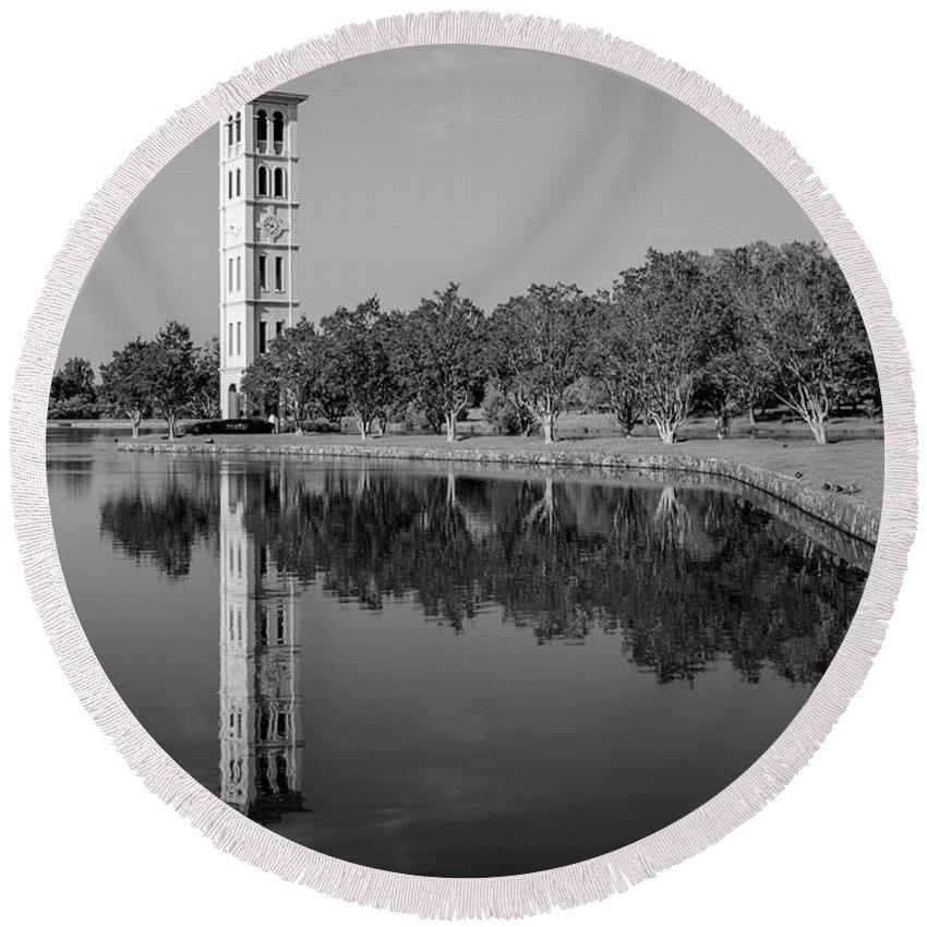 Reid Callaway Furman University Round Beach Towel featuring the photograph The Bell Tower Reflections B W Furman University Greenville South Carolina Art by Reid Callaway