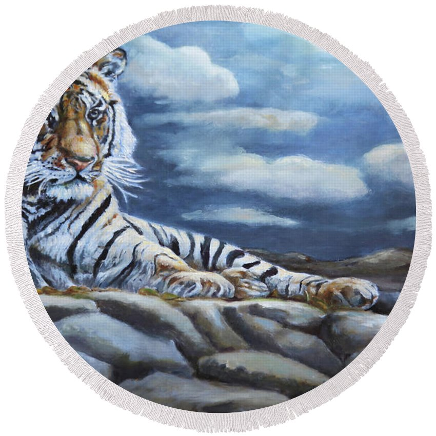 Wildlife Round Beach Towel featuring the painting The Bengal Tiger by Portraits By NC