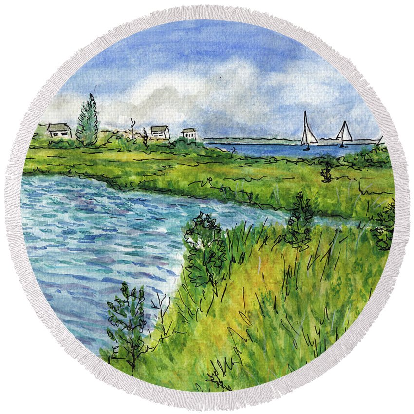 Pond Round Beach Towel featuring the painting The Berkeley Island Pond by Clara Sue Beym