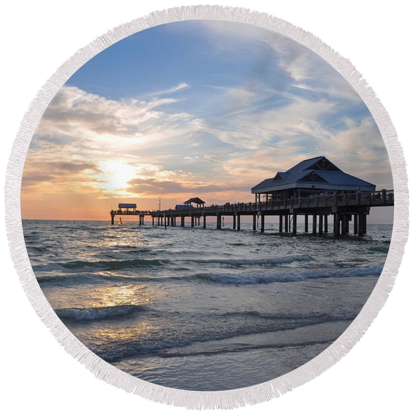 Best Round Beach Towel featuring the photograph The Best Sunsets At Pier 60 by Bill Cannon
