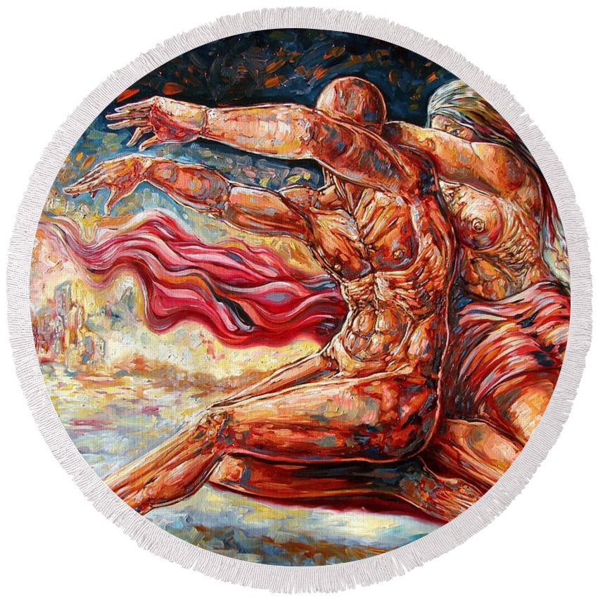 Surrealism Round Beach Towel featuring the painting The Betrayal by Darwin Leon