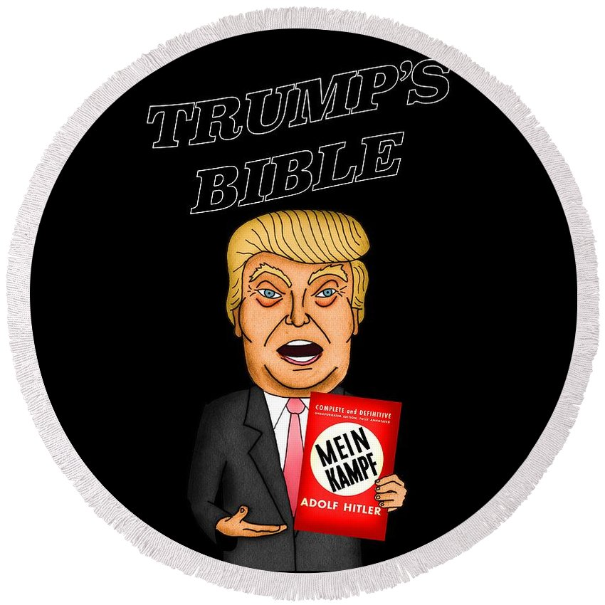 Donald Trump Round Beach Towel featuring the painting The Bible Of Trump by Sean Corcoran