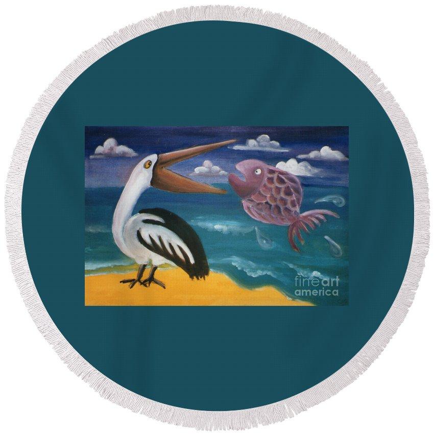 Caroline Peacock Round Beach Towel featuring the painting The Big Dinner Break by Caroline Peacock