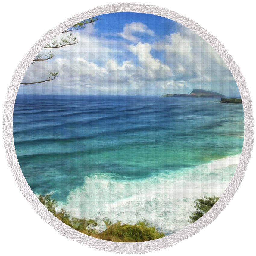 South Pacific Round Beach Towel featuring the painting The Big Empty by Dominic Piperata