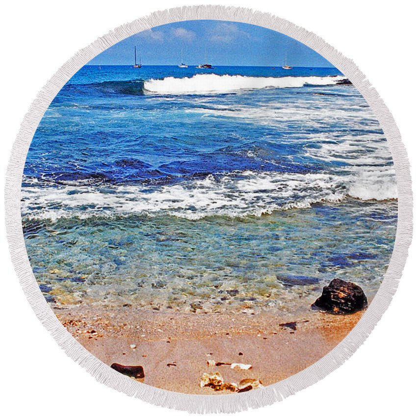 Hawaii Round Beach Towel featuring the photograph The Big Island by Lydia Holly