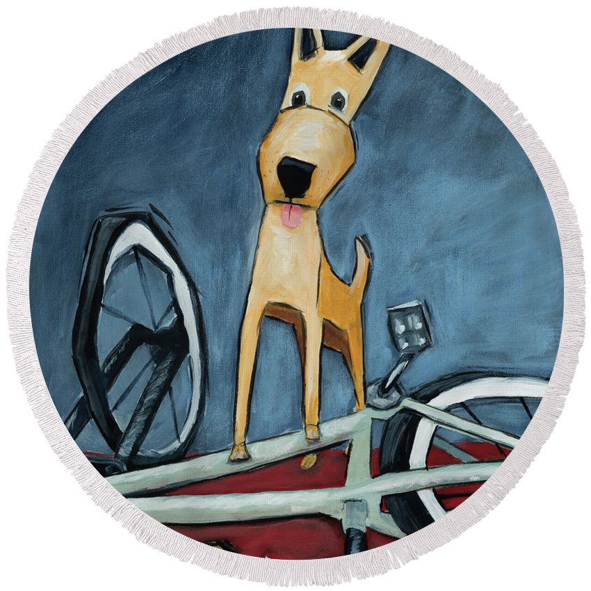 Dog Round Beach Towel featuring the painting The Biker by Shari Michaud