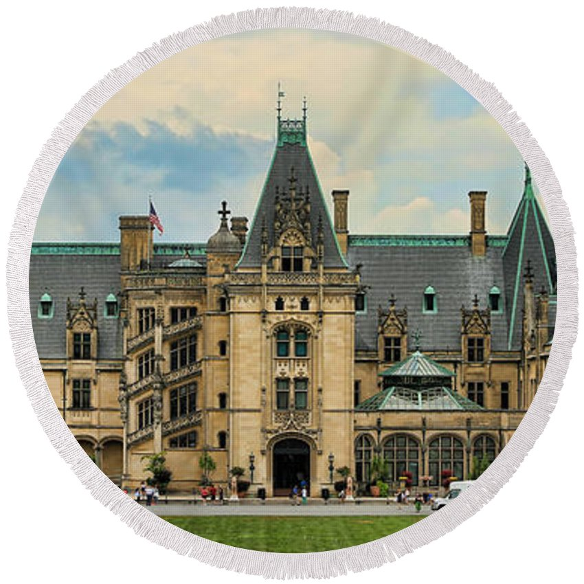 Biltmore Round Beach Towel featuring the photograph The Biltmore House by Stephen Stookey