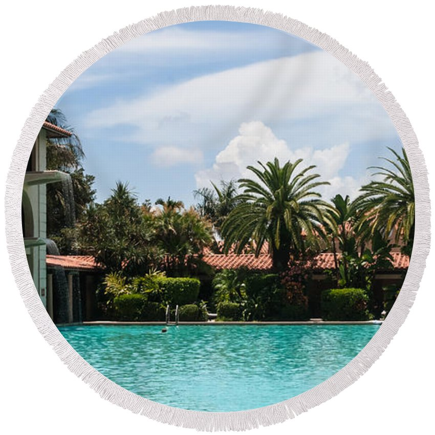 Architecture Round Beach Towel featuring the photograph The Biltmore Pool by Ed Gleichman