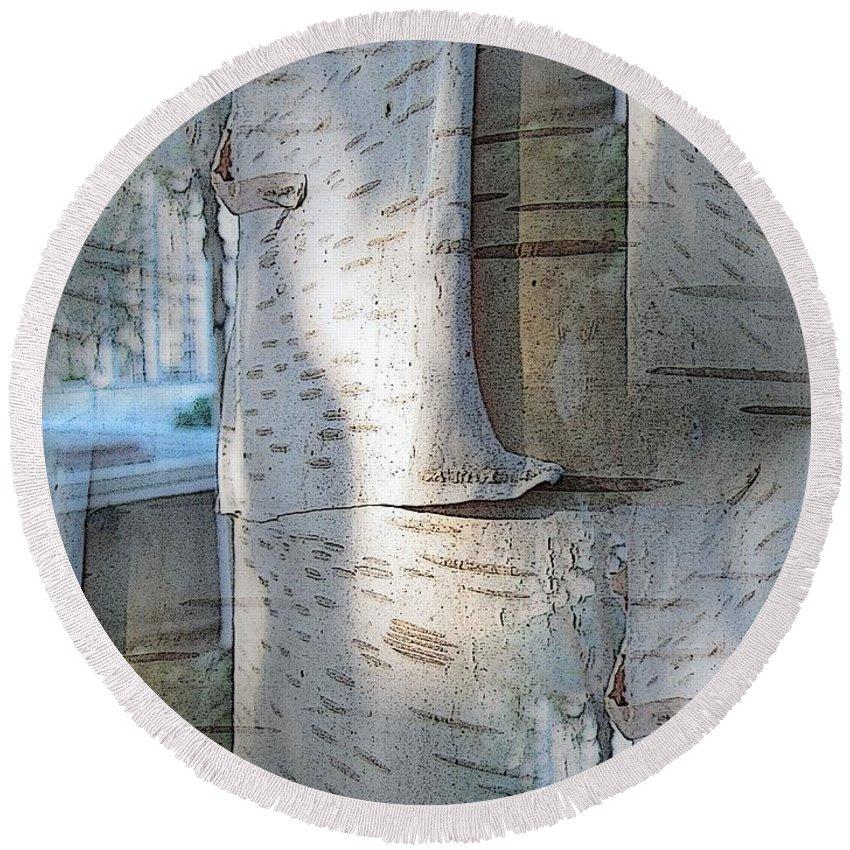 Birch Round Beach Towel featuring the digital art The Birch by Tim Allen