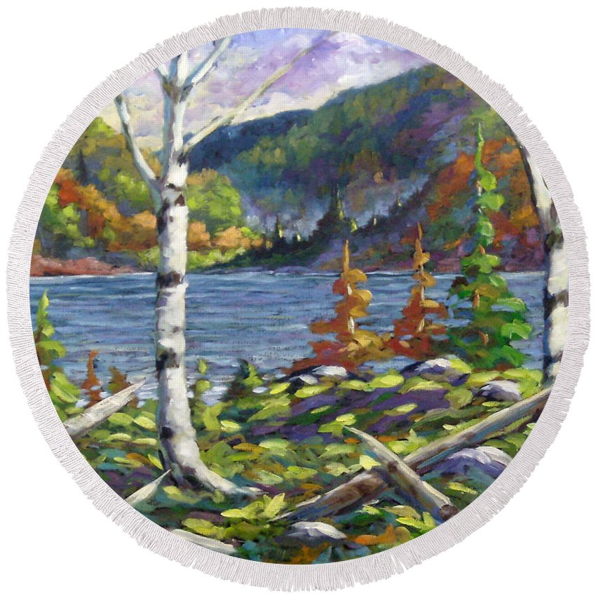 Art Round Beach Towel featuring the painting The Birches by Richard T Pranke