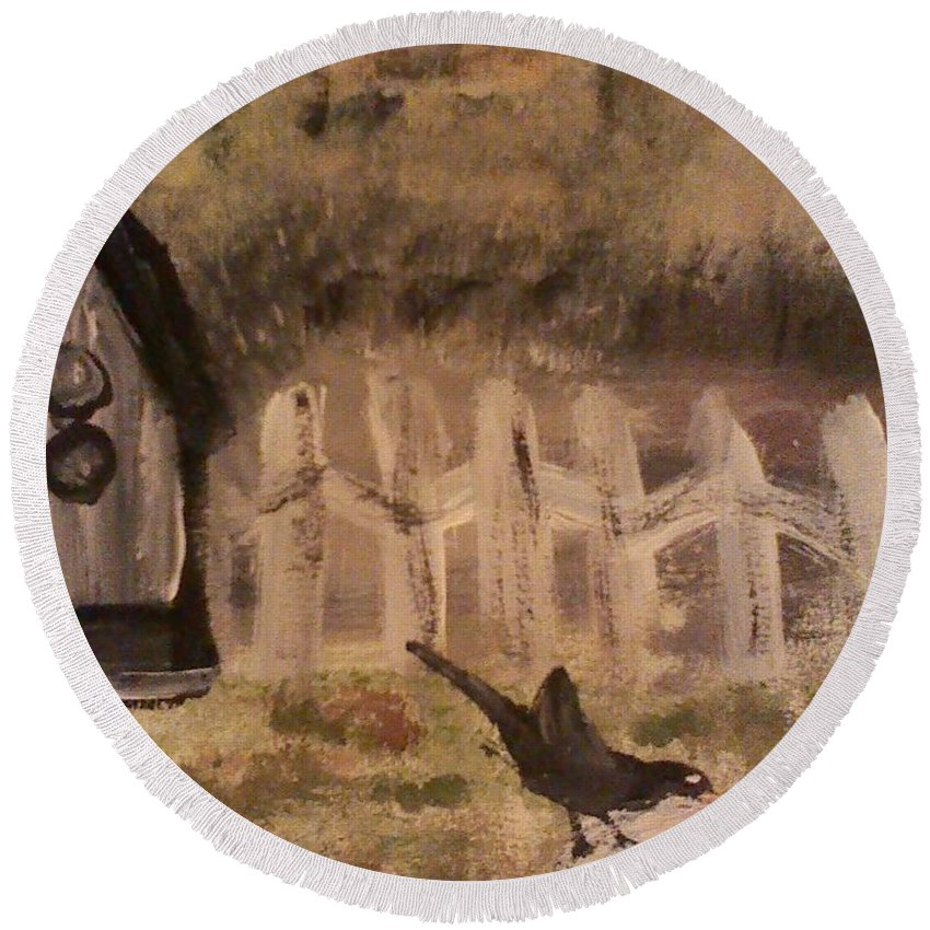 Bird Round Beach Towel featuring the painting The Bird Bath by Mary Ward