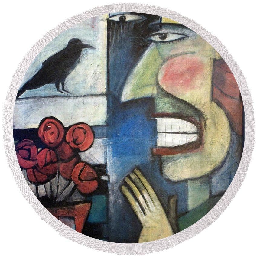 Bird Round Beach Towel featuring the painting The Bird Watcher by Tim Nyberg