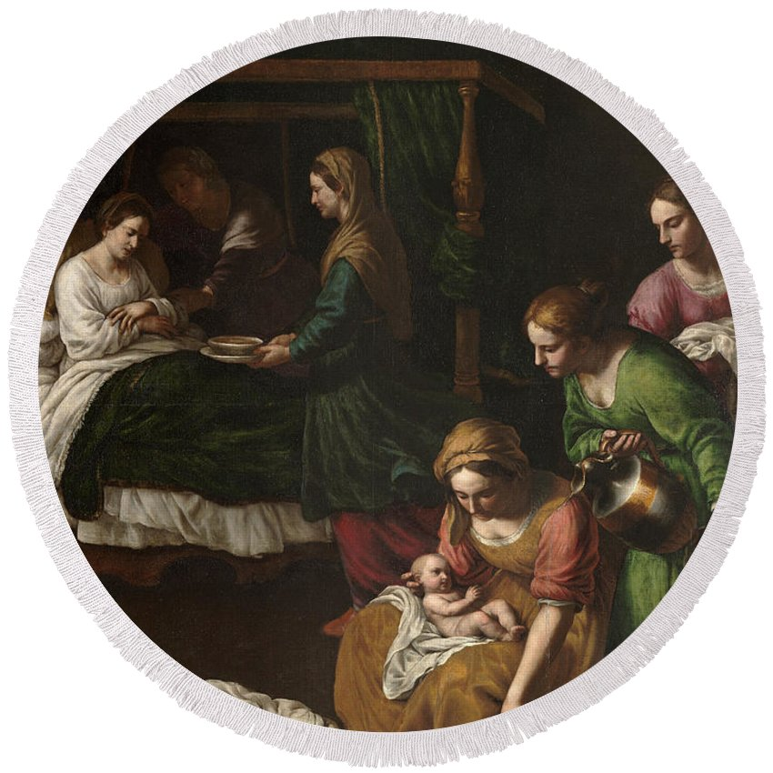 Alessandro Turchi Round Beach Towel featuring the painting The Birth Of The Virgin by Alessandro Turchi