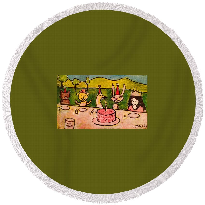 Birthday Round Beach Towel featuring the painting The Birthday Party by David Lovins