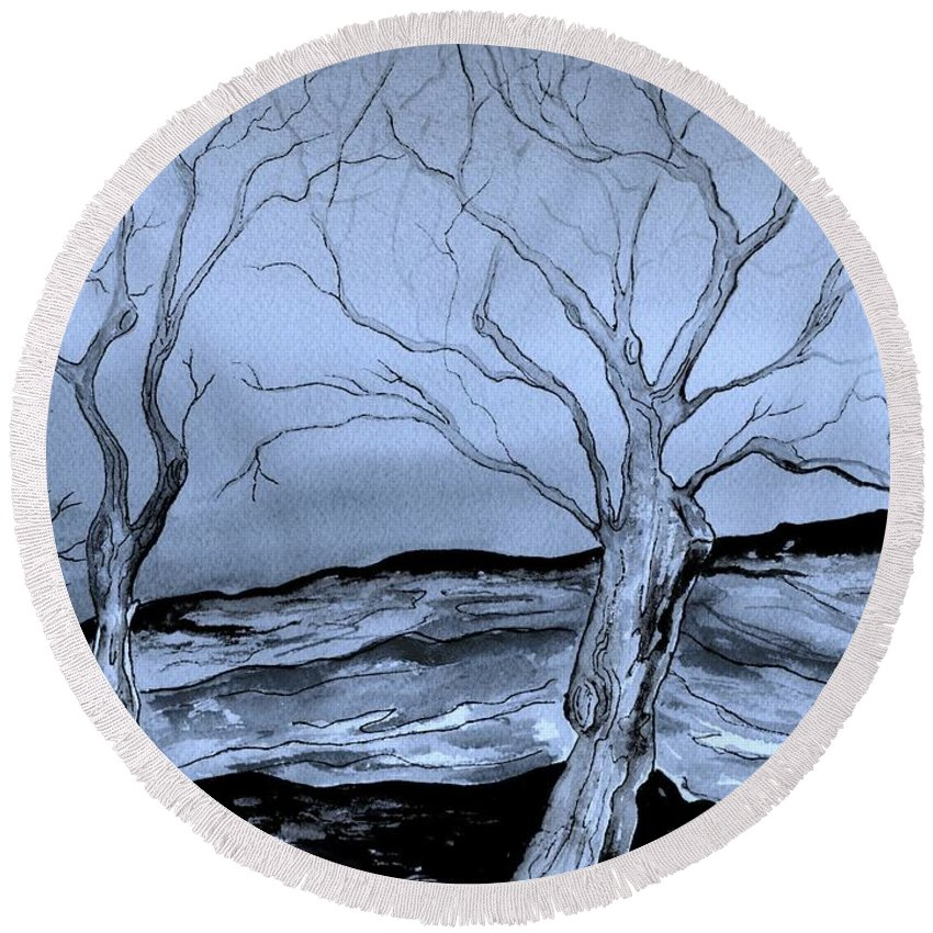 Landscape Round Beach Towel featuring the painting The Bleak Terrain by Brenda Owen