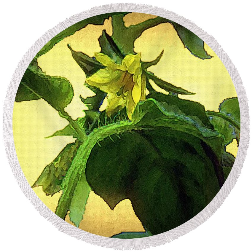 Flower Round Beach Towel featuring the painting The Blossom To Become A Fruit by RC DeWinter