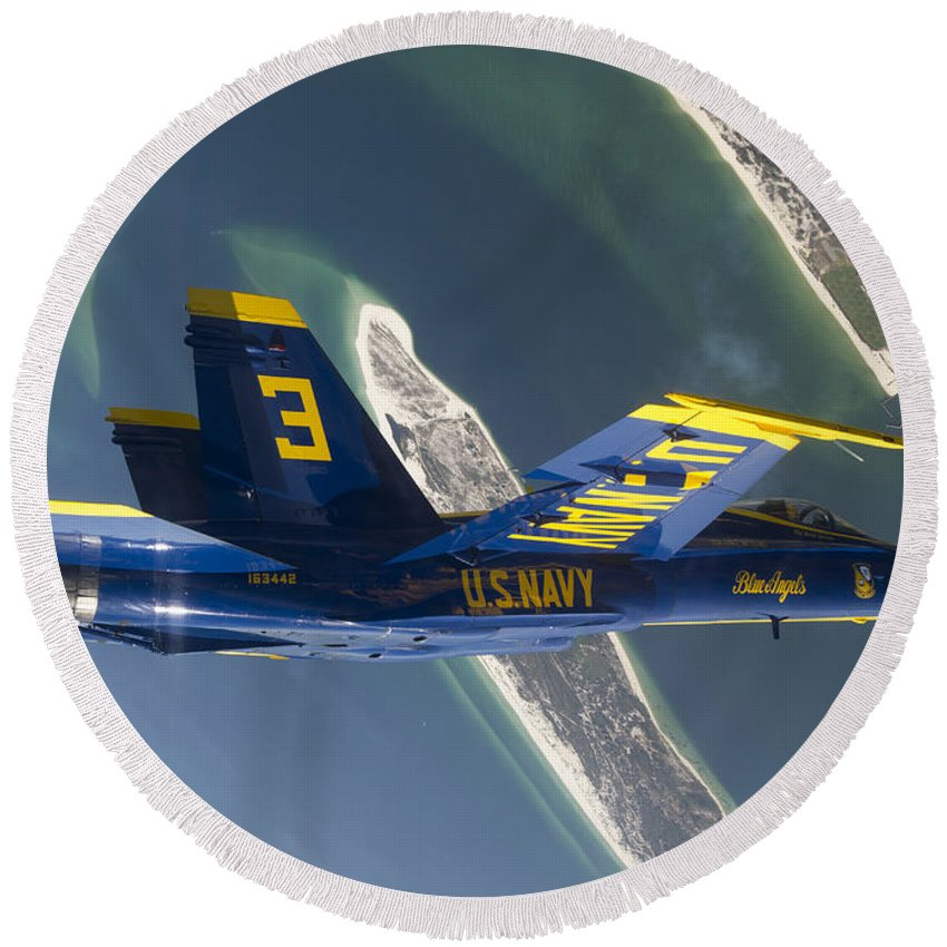 Blue Angels Round Beach Towel featuring the photograph The Blue Angels Perform A Looping by Stocktrek Images
