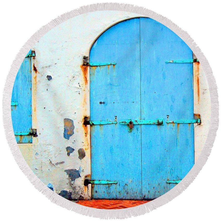 Door Round Beach Towel featuring the photograph The Blue Door Shutters by Debbi Granruth