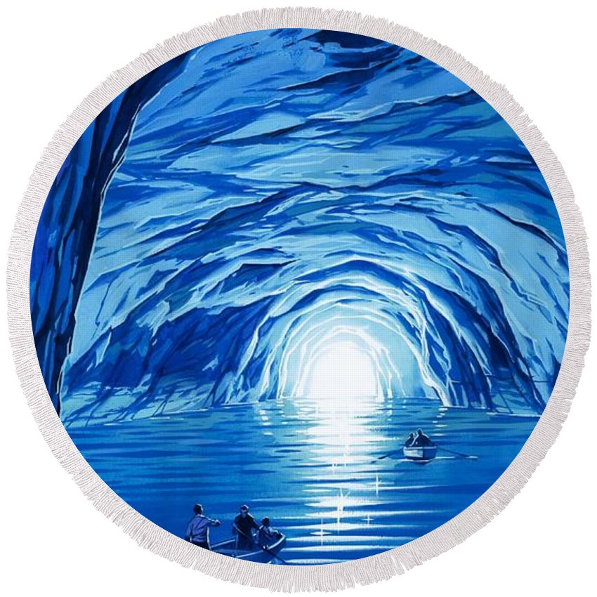 Blue Grotto; Capri; La Grotta Azzurra; Italy; Cave; Sea; Mediterranean; Blue; Colour Round Beach Towel featuring the painting The Blue Grotto In Capri By Mcbride Angus by Angus McBride