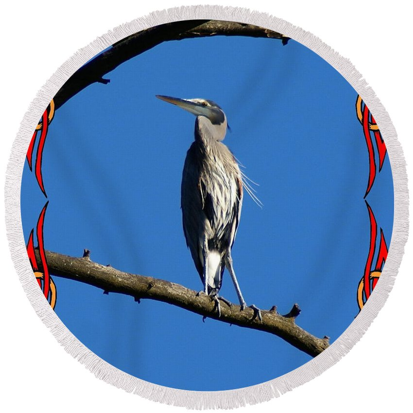 Birds Round Beach Towel featuring the photograph The Blue Heron Claimed He Was Framed by Ben Upham III