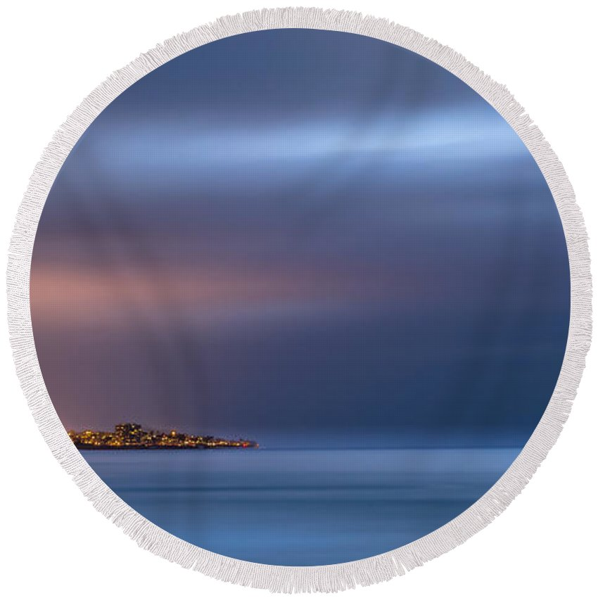 Beach Round Beach Towel featuring the photograph The Blue Jewel - La Jolla by Peter Tellone