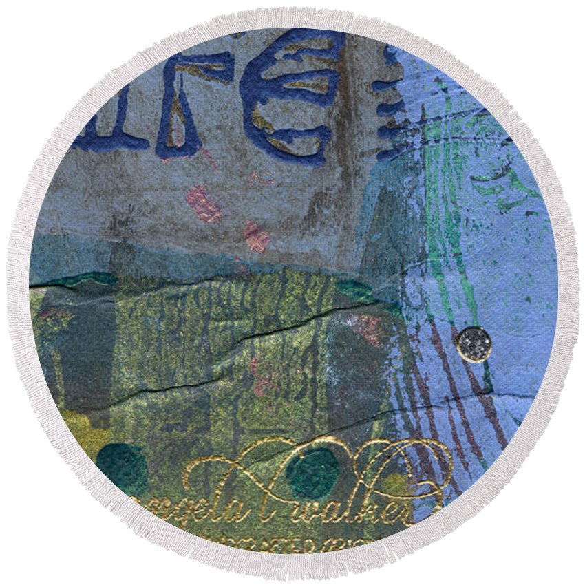 Woman Round Beach Towel featuring the mixed media The Blue Lady Prays by Angela L Walker
