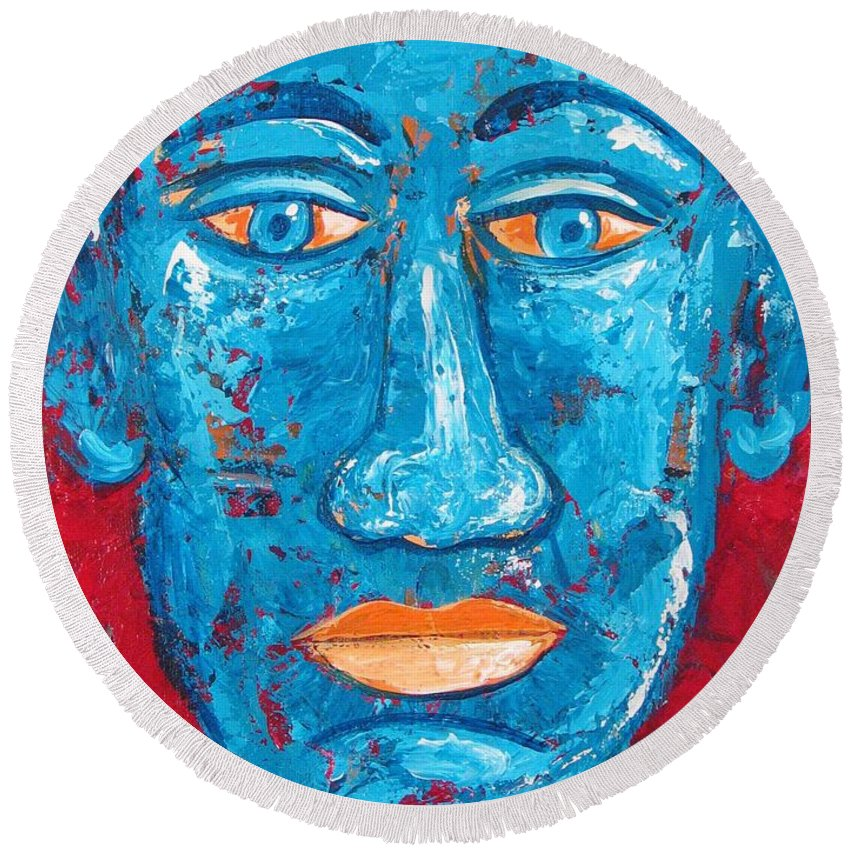 Man Round Beach Towel featuring the painting Contemplative Blue by Rollin Kocsis