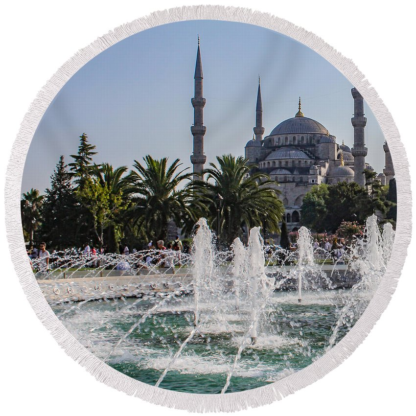 Architecture Round Beach Towel featuring the photograph The Blue Mosque Istanbul by Mo Barton