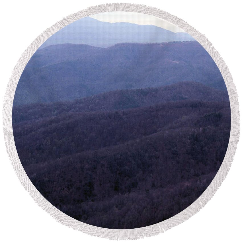 Mountains Round Beach Towel featuring the photograph The Blue Ridge by Richard Rizzo