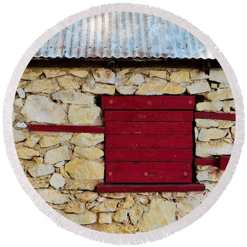 Boarded Round Beach Towel featuring the photograph The Boarded Red Window by Gary Richards