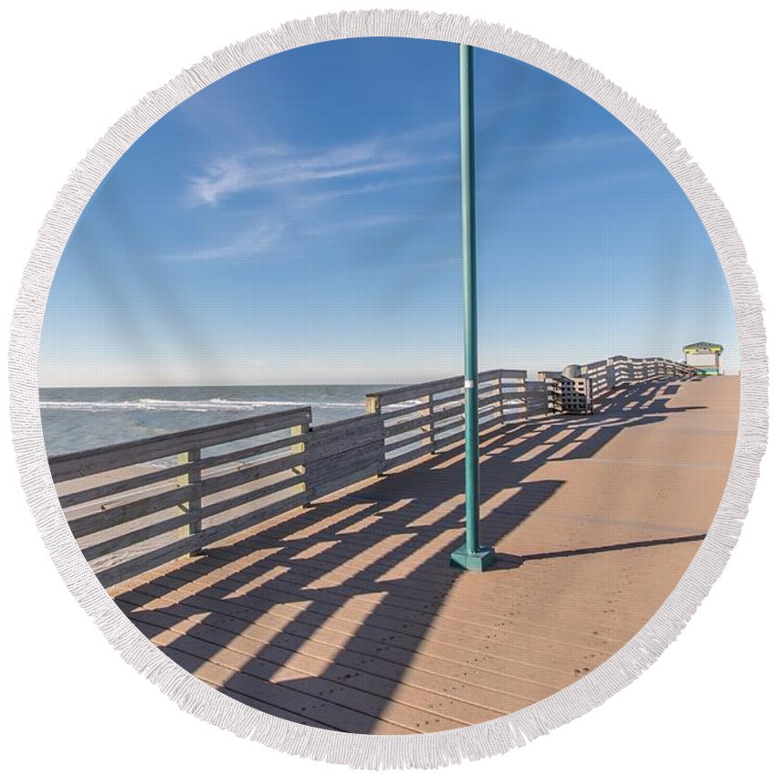 Beach Round Beach Towel featuring the photograph The Boardwalk by Joseph Toth