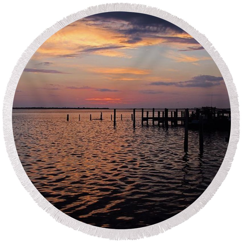Sunset Round Beach Towel featuring the photograph The Boatman's Banter by Michiale Schneider