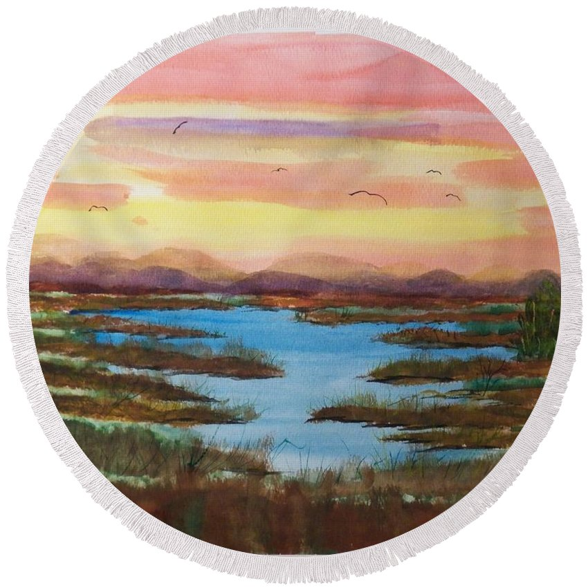 Watercolor Round Beach Towel featuring the painting The Bog by Laurie Kidd