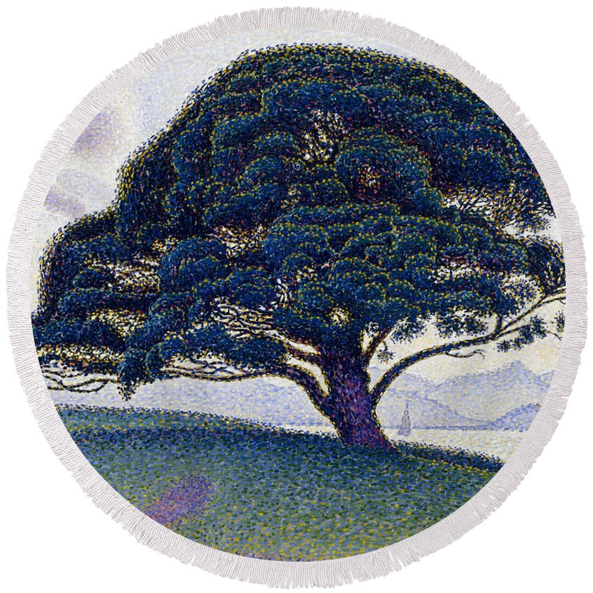 Paul Signac Round Beach Towel featuring the painting The Bonaventure Pine by Paul Signac