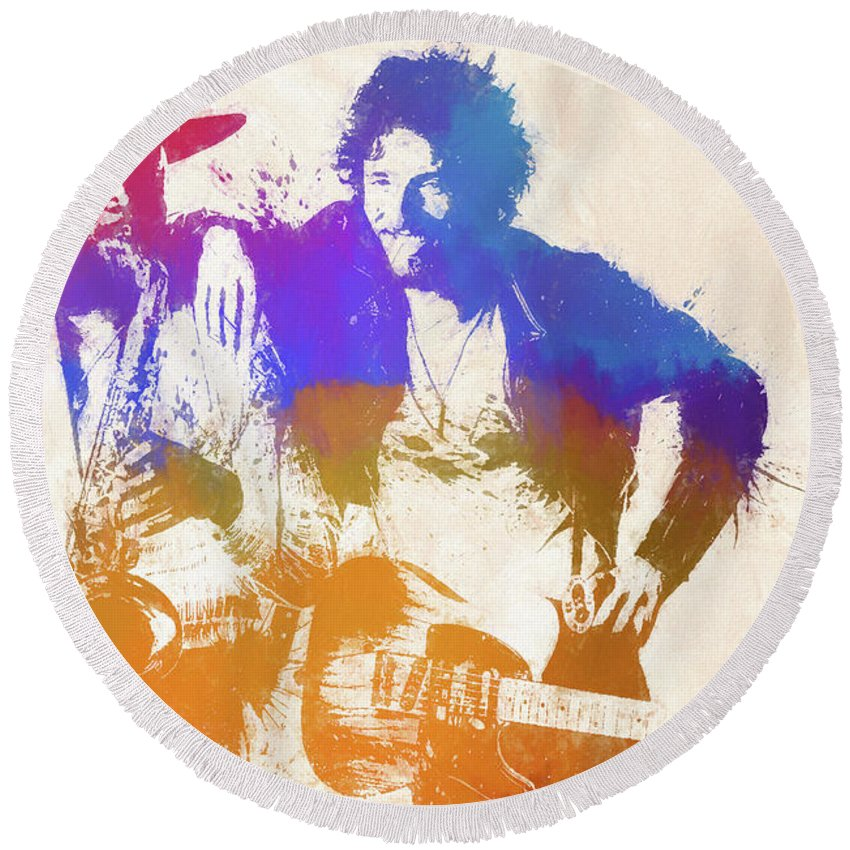 Bruce And The Big Man Round Beach Towel featuring the painting The Boss And The Big Man by Dan Sproul