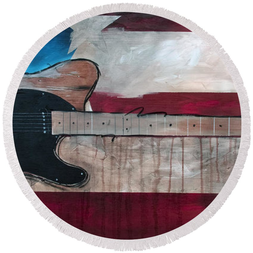 Bruce Springsteen Round Beach Towel featuring the painting The Boss by Sean Parnell