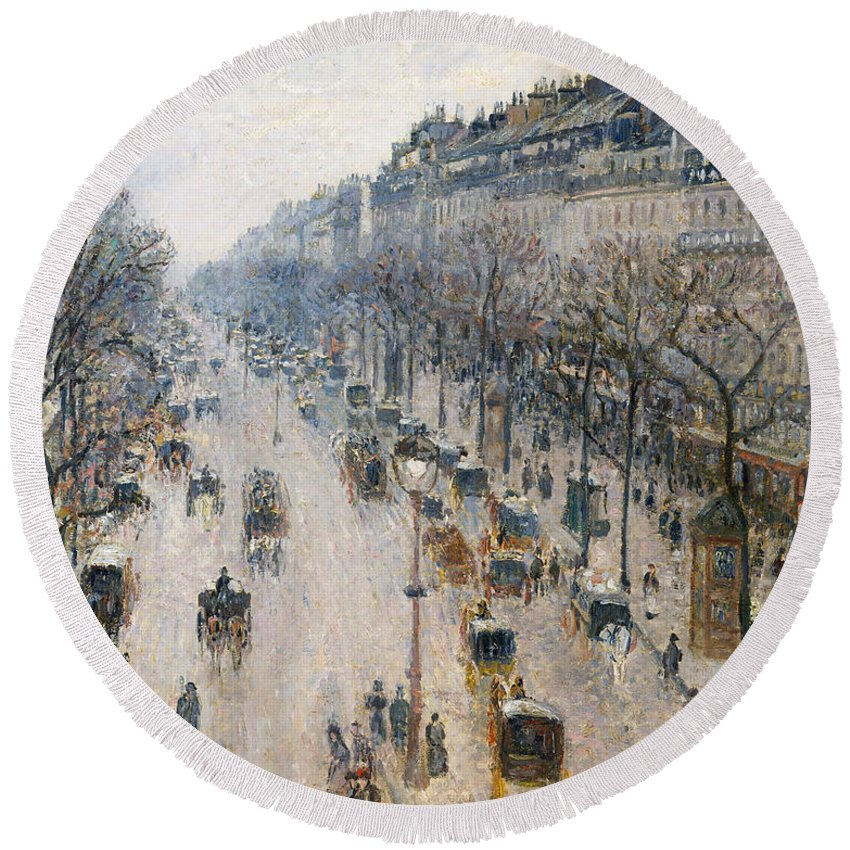 Boulevard Round Beach Towel featuring the painting The Boulevard Montmartre On A Winter Morning, 1897 by Camille Pissarro