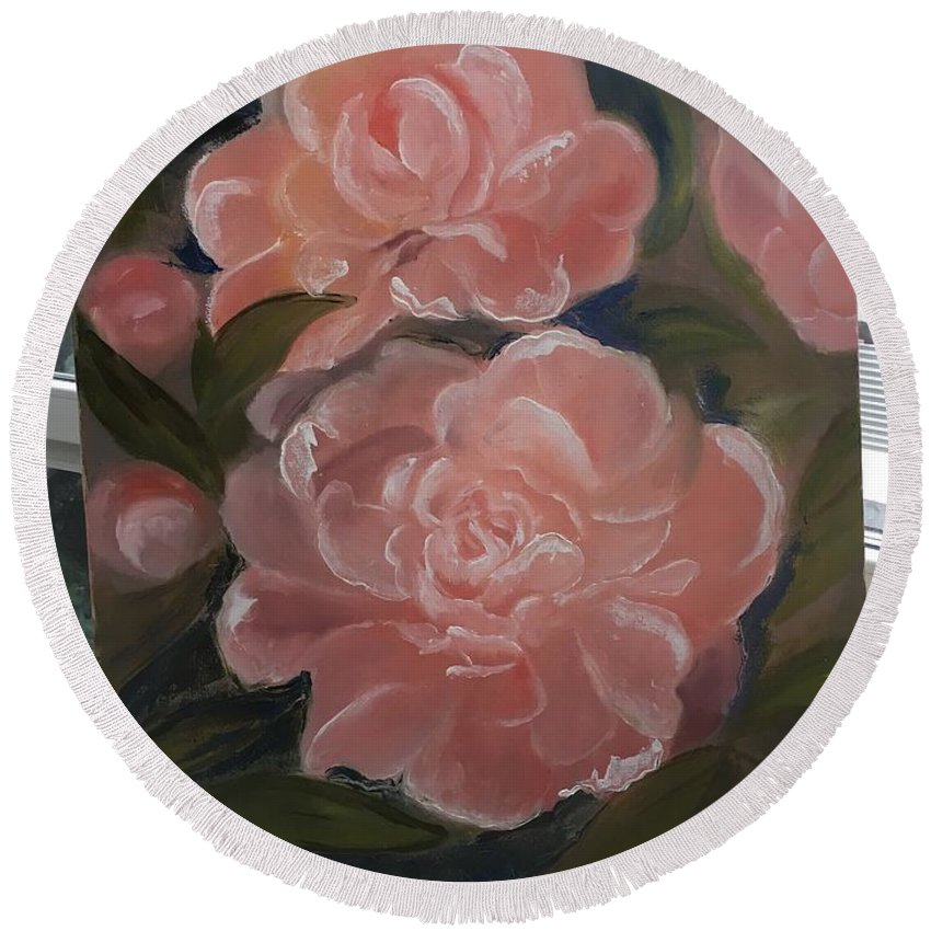 Flowers Round Beach Towel featuring the painting The Bouquet Of Peonies by Oksana Voloshyn