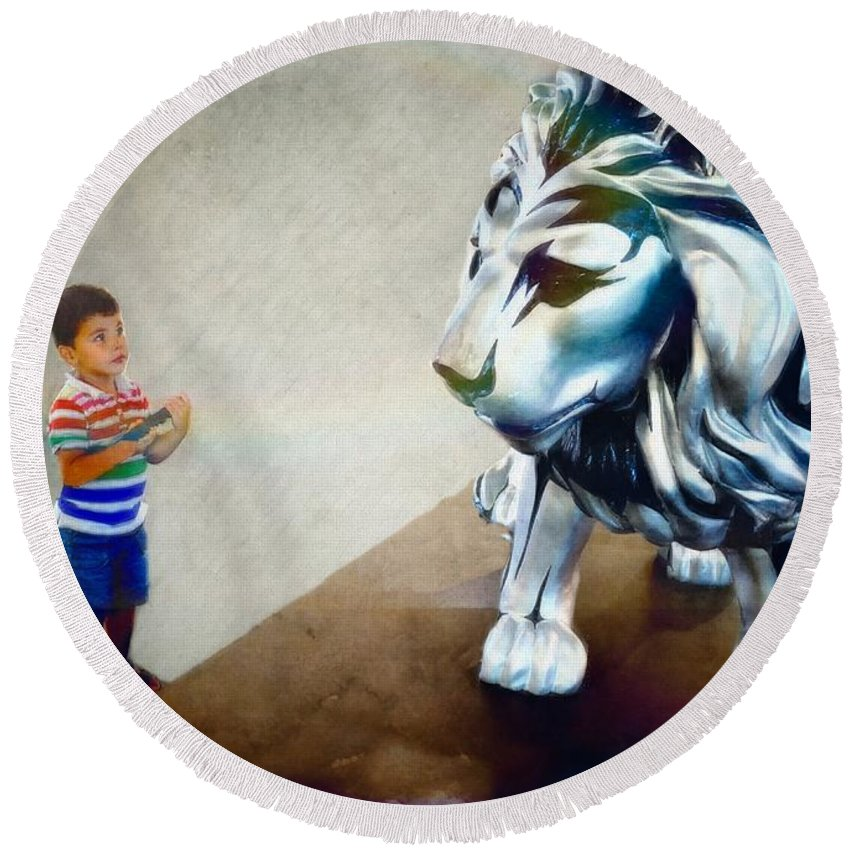 Animals Round Beach Towel featuring the photograph The Boy And The Lion 10 by Jean Francois Gil