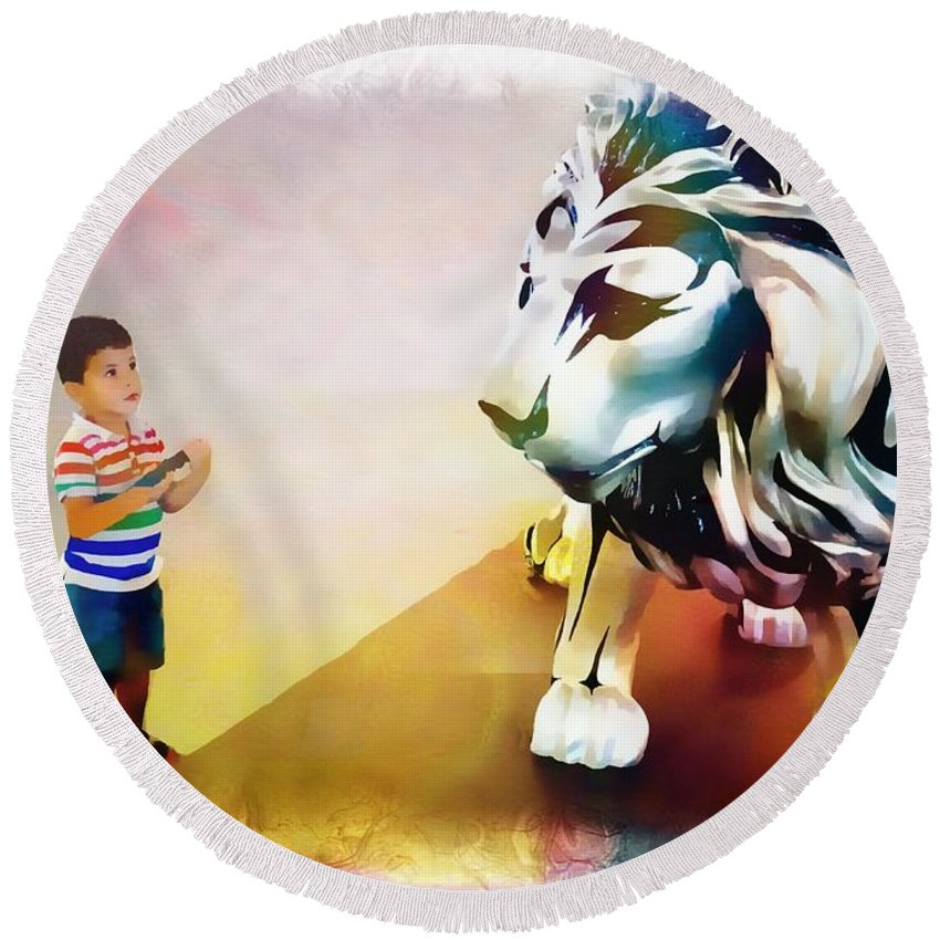 Animals Round Beach Towel featuring the photograph The Boy And The Lion 11 by Jean Francois Gil